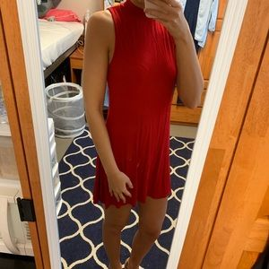 Red ribbed high neck dress